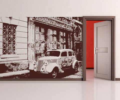 Vinyl Wall Decal Sticker Antique Cab on the Street #OS_AA563