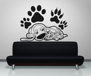 Vinyl Wall Decal Sticker Sleepy Cat and Dog #OS_AA602