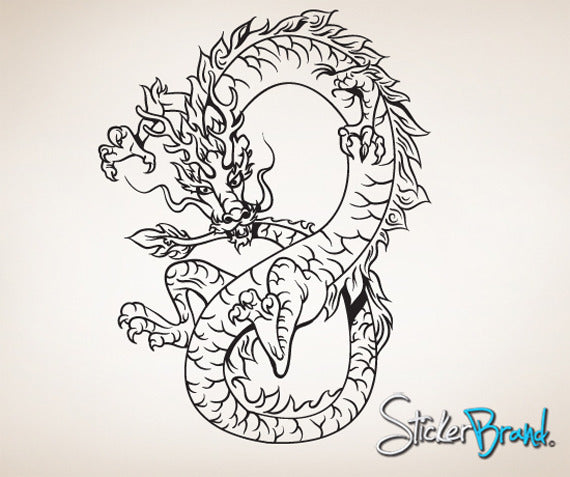 Vinyl Wall Decal Sticker Chinese Asian Dragon #819