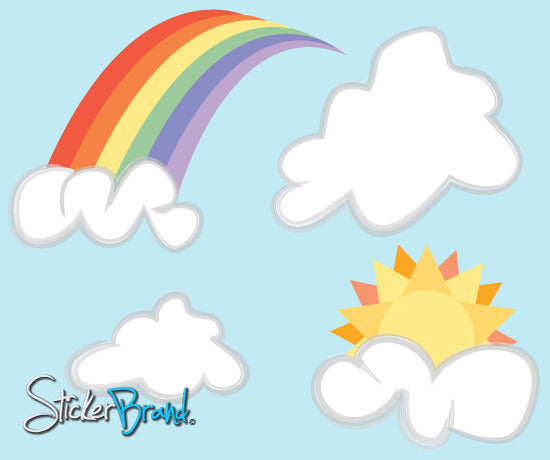 Vinyl Wall Decal Sticker Rainbow Clouds SunSet #DCriswell104