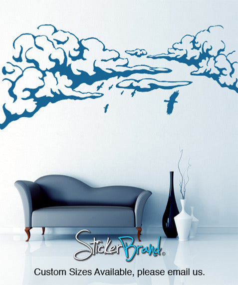 Vinyl Wall Decal Sticker Flying Birds over Clouds #GFoster146