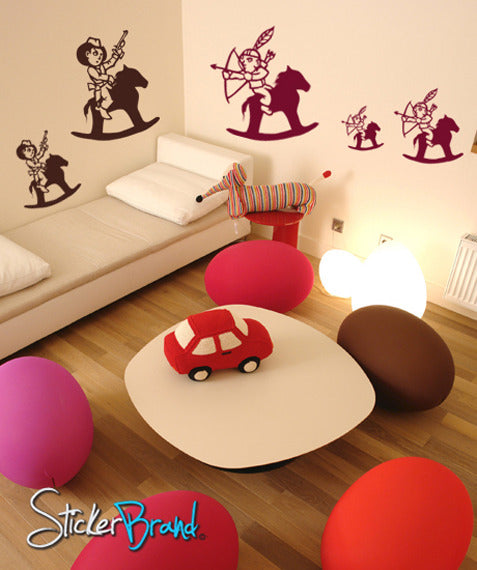 Vinyl Wall Decal Sticker Cowboys and Indians #GFoster136