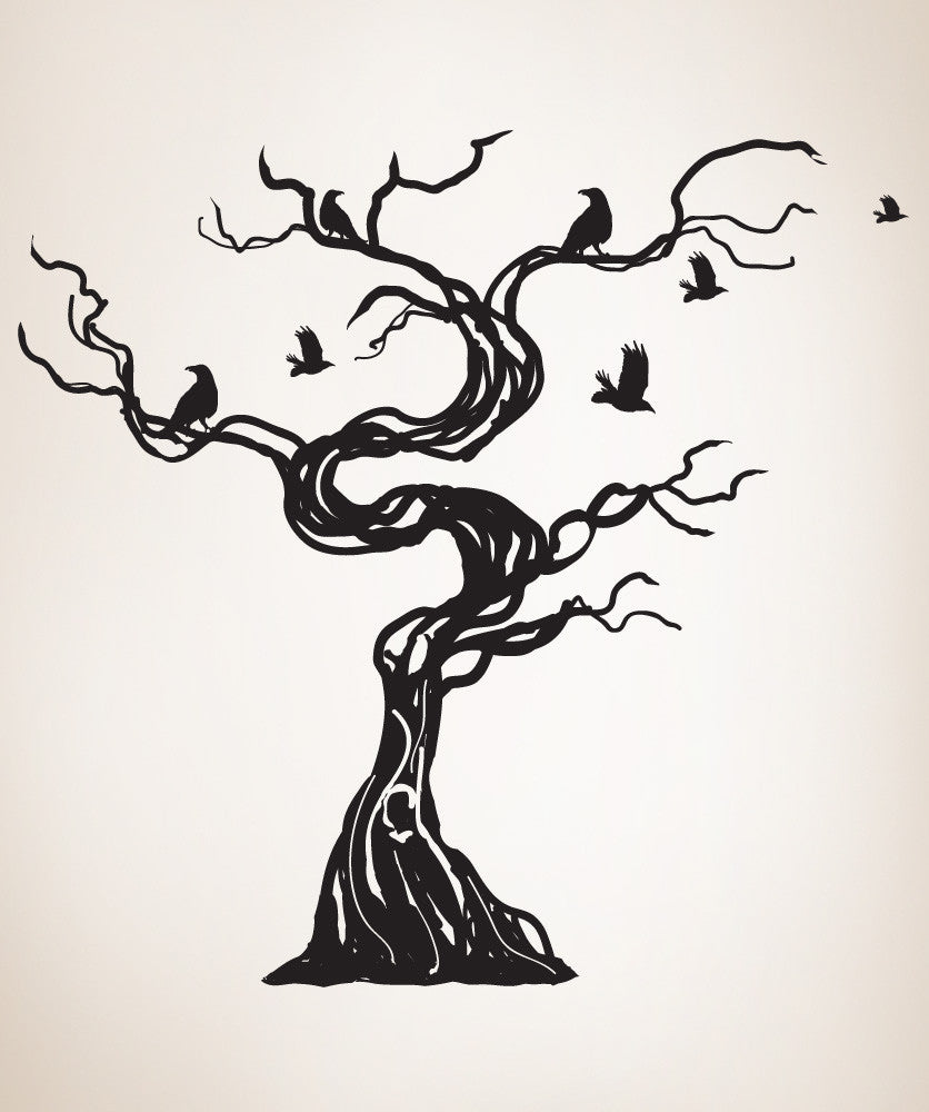 Vinyl Wall Decal Sticker Crows Tree Gfoster172