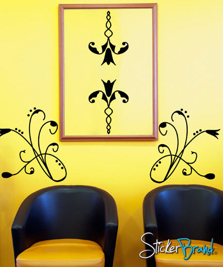 Vinyl Wall Decal Curly Flowers #AFord105