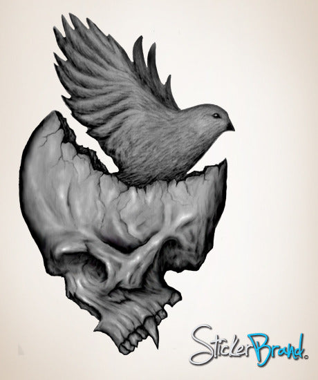 Graphic wall decal sticker skull and bird mconde104