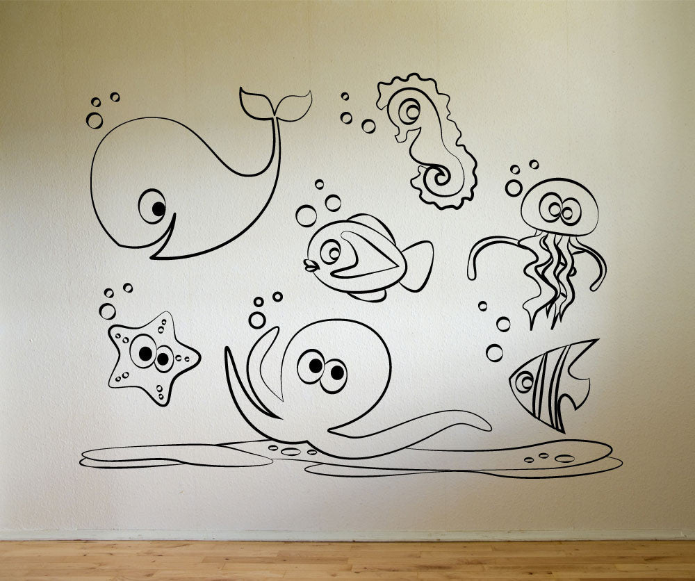 Vinyl Wall Decal Sticker Sea Doodle Friends # OS_MG160