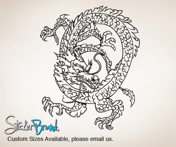 Vinyl Wall Decal Sticker Chinese Dragon #821