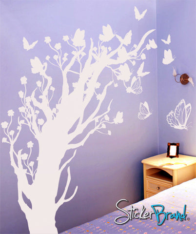 Vinyl Wall Decal Sticker Butterflies Floral Blossom Tree #GFoster147