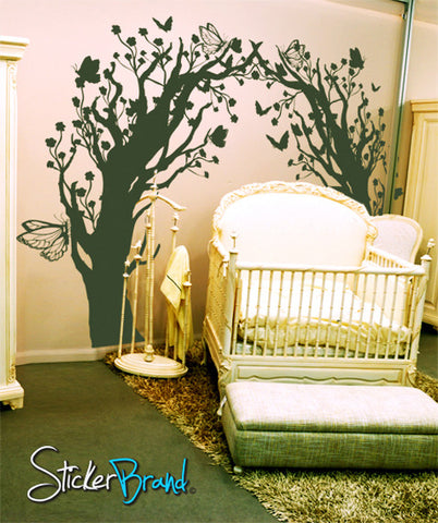 Vinyl Wall Decal Sticker Butterfly Floral Blossom Tree Tunnel #GFoster148