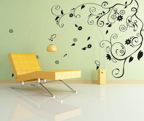 Vinyl Wall Decal Sticker Floral Swirl #OS_DC102