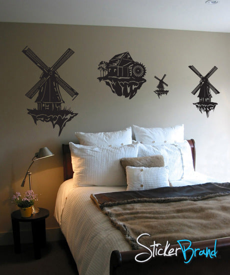 Vinyl Wall Decal Sticker WindMills in the Clouds #GFoster134