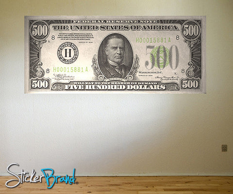 Graphic Wall Decal Sticker Money $500 Dollar Bill #GWray106