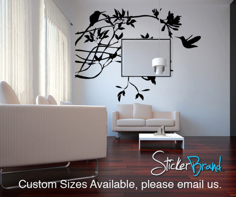 Humming Birds feeding on Flower Vinyl Wall Decal. #AC118