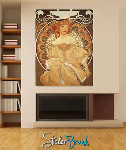 Graphic Wall Decal Sticker Lady by Mucha  #GWray114