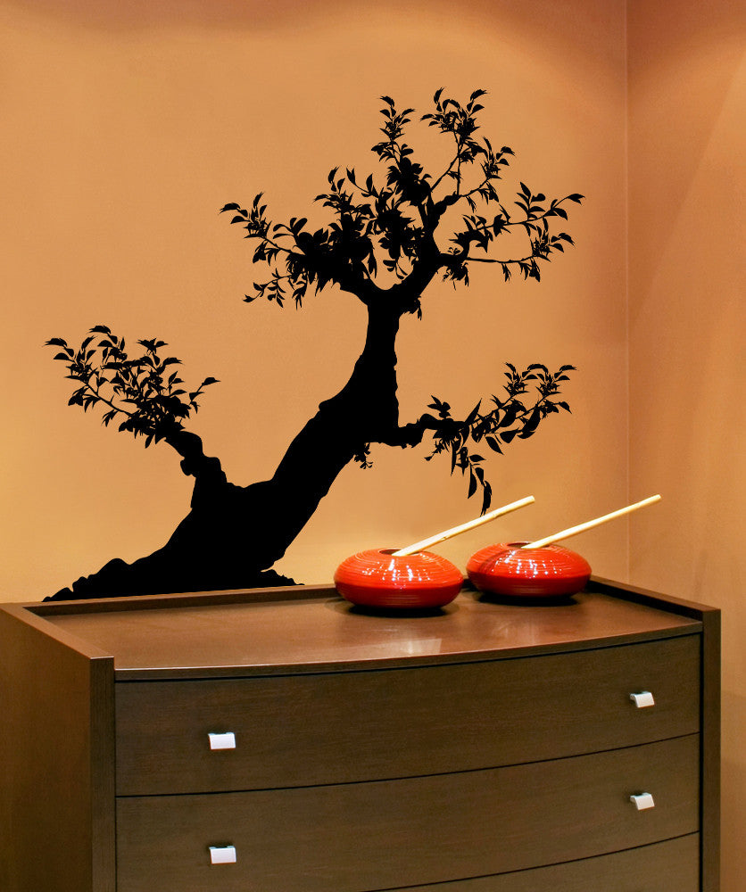 Vinyl Wall Decal Sticker Leaning Bonsai #AC212