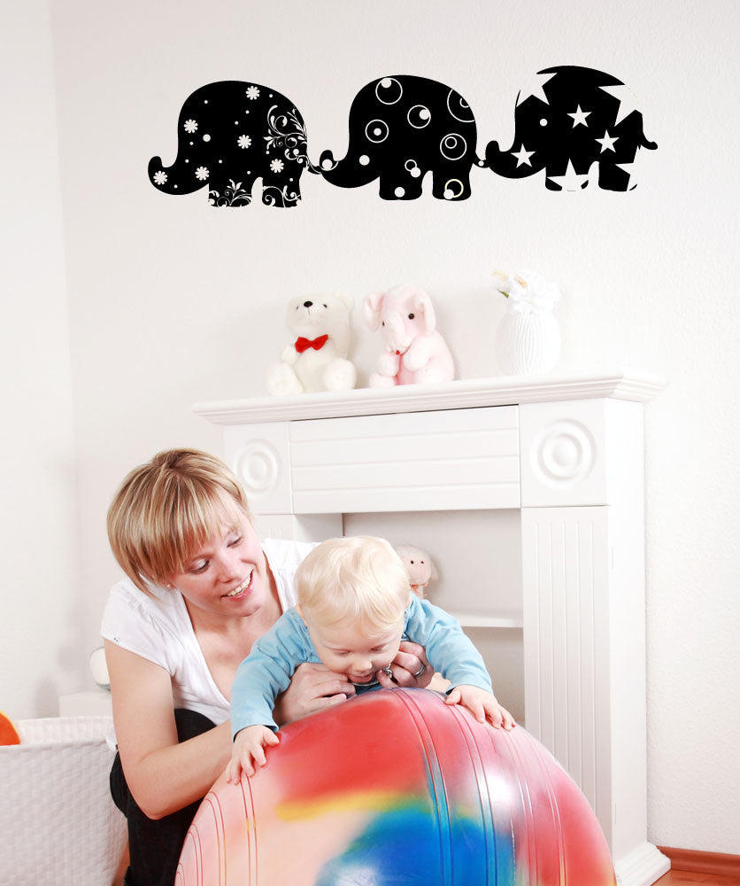 Vinyl Wall Decal Sticker Trio of Patterned Elephants #OS_MG288