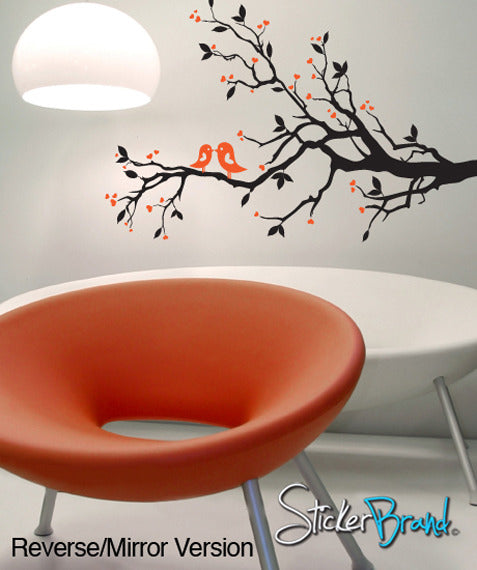 Vinyl Wall Decal Sticker Love Bird Branch Hearts #841