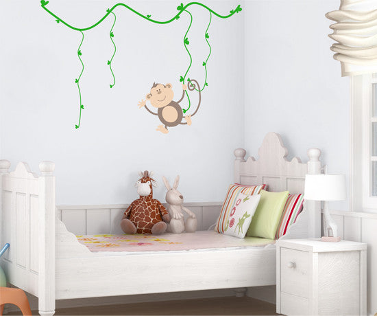 Graphic Vinyl Wall Decal Sticker Swinging Monkey on Tree Branch #MM136