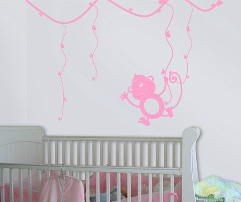 Vinyl Wall Decal Sticker Swinging Monkey on Tree Branch #MM137