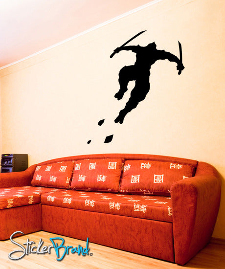 Vinyl Wall Decal Sticker Ninja Jumping Sword #GFoster111