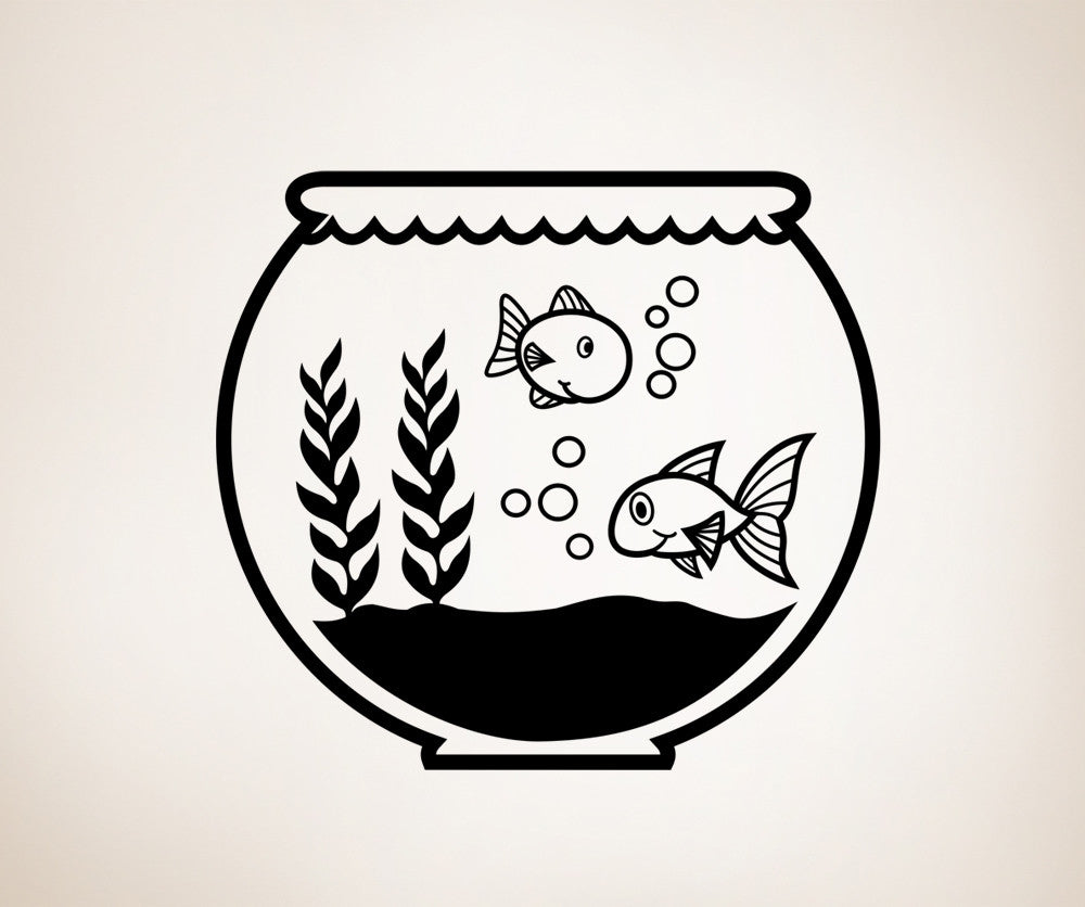 Vinyl Wall Decal Sticker Two Fish in a Fish Bowl #OS_ES117