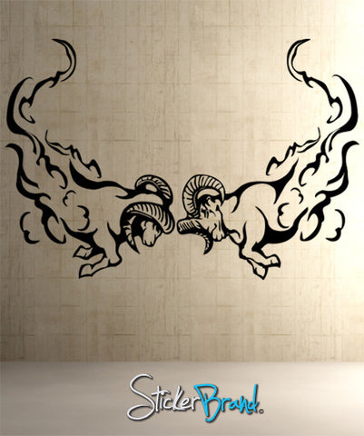 Vinyl Wall Decal Sticker Rams Fighting #GFoster126
