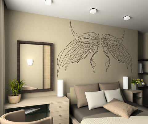 Vinyl Wall Decal Sticker Intricate Bird Wings #OS_DC236