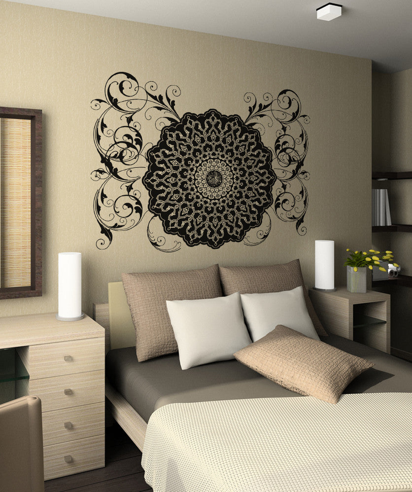 Vinyl wall decal sticker arabic flower circle design os aa347 for Islamic home decorations