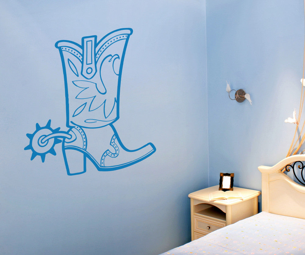 Vinyl wall decal sticker tall cowboy boots osaa351 amipublicfo Image collections