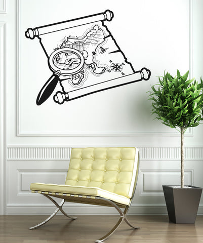 Vinyl Wall Decal Sticker Pirate Map Search #OS_AA399