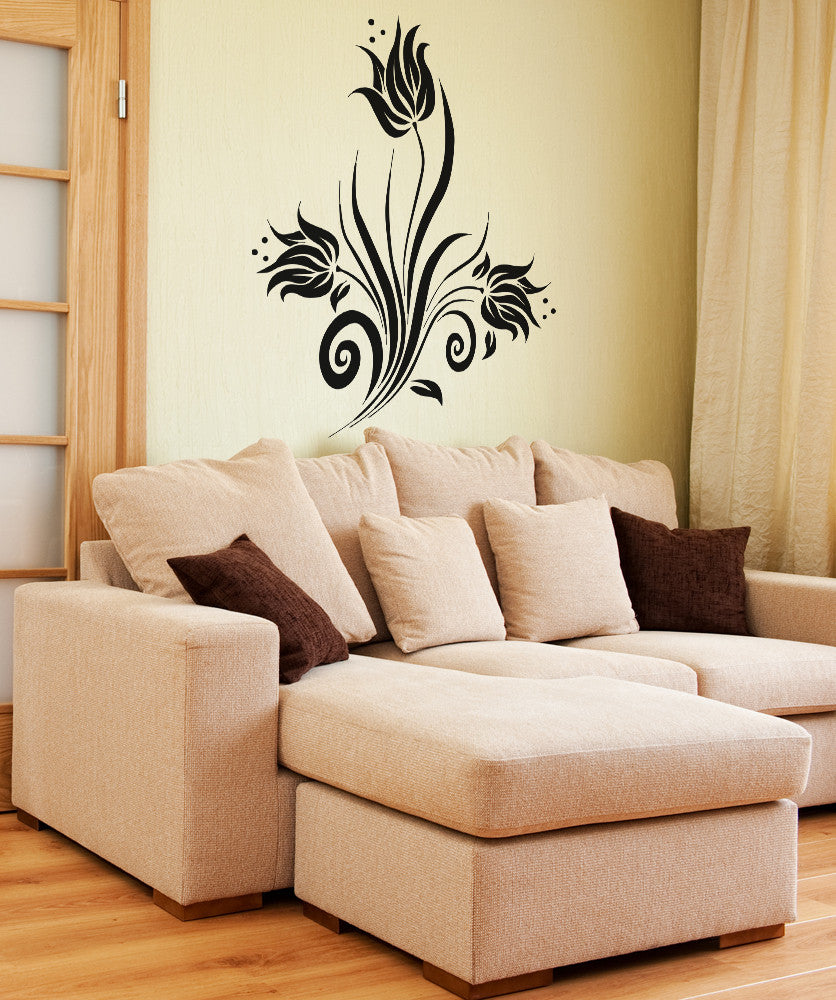 Vinyl Wall Decal Sticker Swirly Tulips #OS_AA363