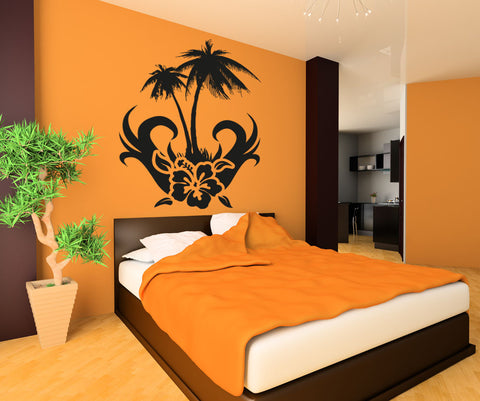 Vinyl Wall Decal Sticker Hibiscus With Palm Tree #OS_AA266