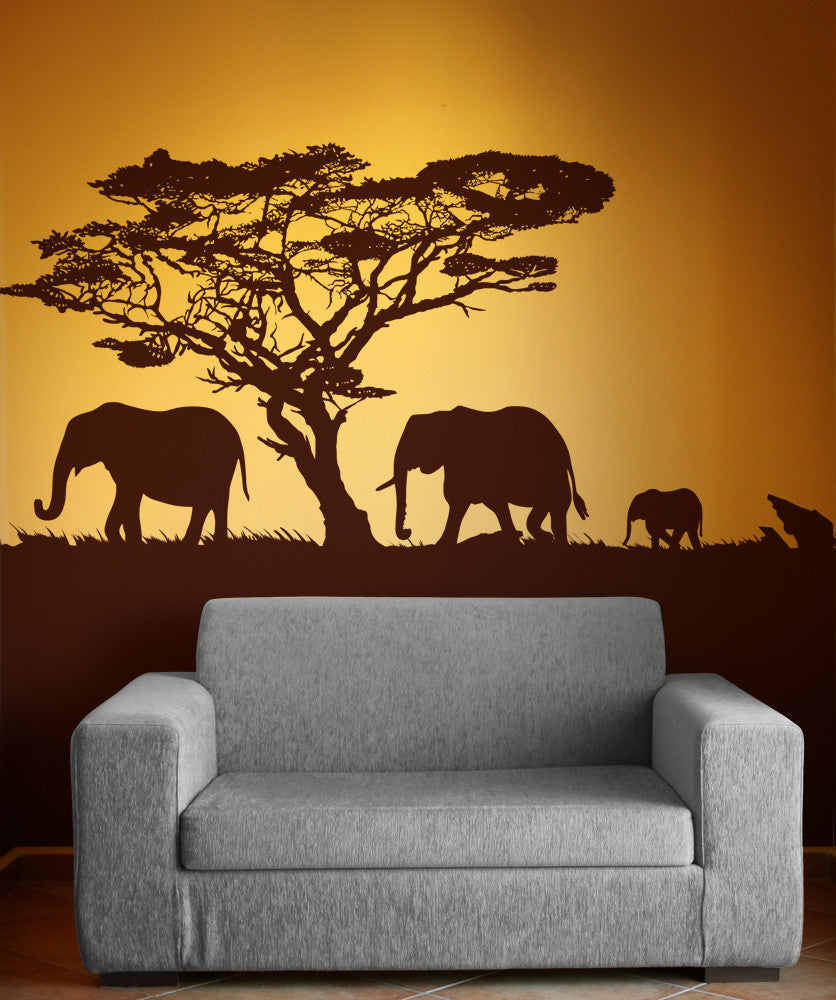 vinyl wall decal sticker safari theme elephant family os aa104. Black Bedroom Furniture Sets. Home Design Ideas