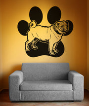 Vinyl Wall Decal Sticker Pug and Dog Paw #OS_AA618
