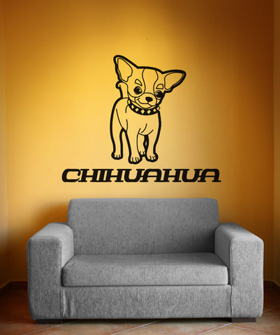 Vinyl Wall Decal Sticker Long Haired Chihuahua #OS_AA622