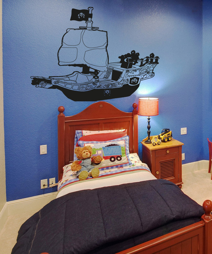 Vinyl Wall Decal Sticker Toy Pirate Ship #OS_AA308