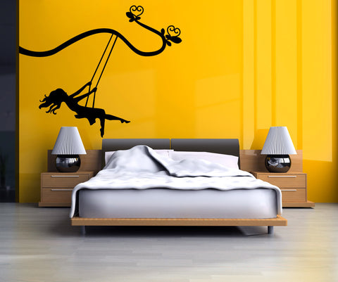 Girl Swinging on a Swing set hanging from Tree Branch Vinyl Wall Decal Sticker. #OS_MG446
