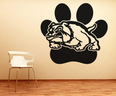 Vinyl Wall Decal Sticker Bulldog with Paw Print #OS_AA619