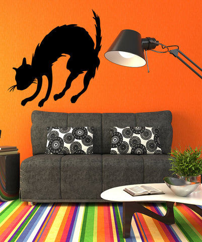 Vinyl Wall Decal Sticker Scared Cat #OS_MB485