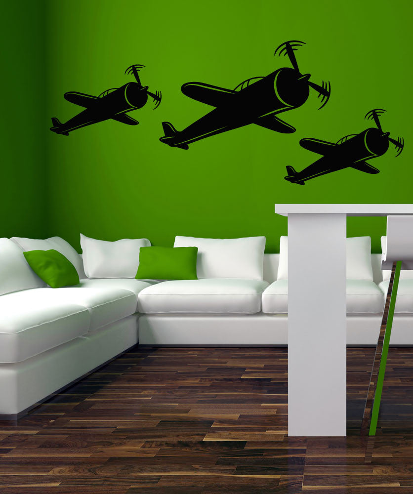 Vinyl Wall Decal Sticker Trio of Planes #OS_MB418