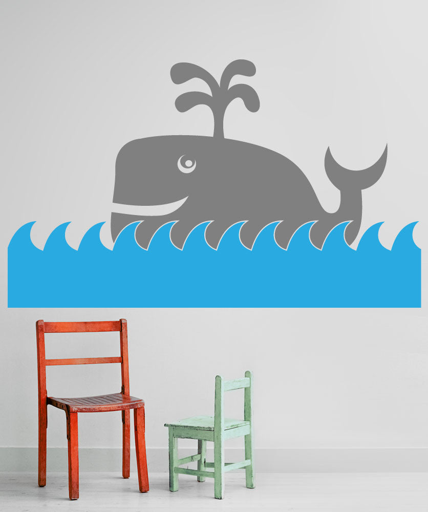 Vinyl Wall Decal Sticker Happy Whale Os Mb292