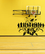 Vinyl Wall Decal Sticker Women's Basketball with Hibiscus #OS_AA502
