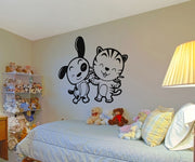 Vinyl Wall Decal Sticker Happy Puppy and Kitty #OS_AA604