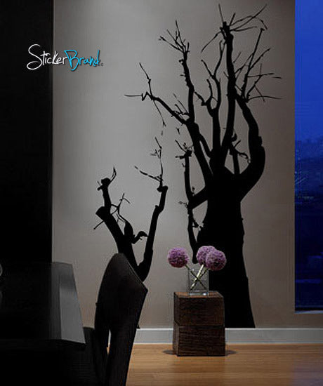 Vinyl Wall Art Decal Large Spooky Tree Silhouette #172