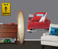 Graphic Vinyl Wall Decal Surfing Truck with Surfboards #MM123
