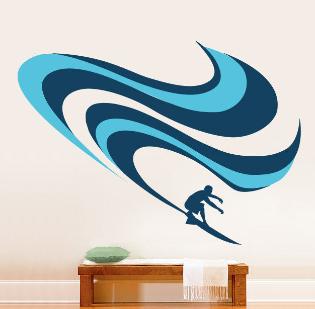 Vinyl wall decal sticker surfing wave 277