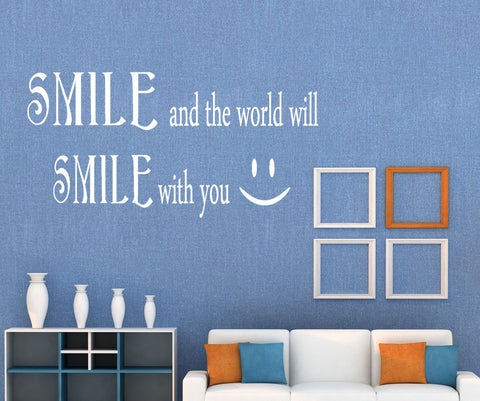 Vinyl Wall Decal Sticker Smile Smile Quote #GFoster183