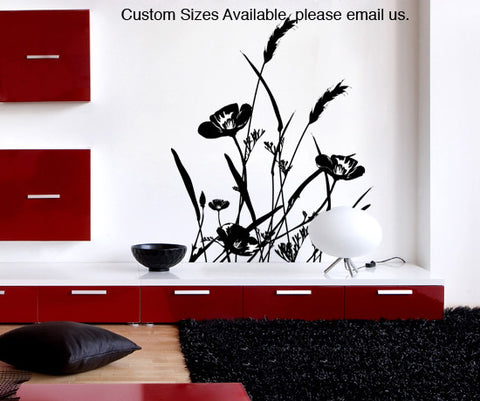 Clearance Item: Wild Flowers Vinyl Wall Decal Sticker. #AC160s-48x37 (BLACK)