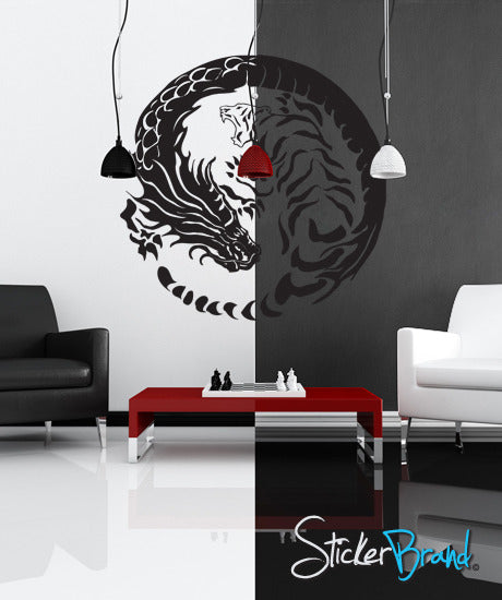 Vinyl Wall Decal Sticker Yin Yang Dragons GFoster120