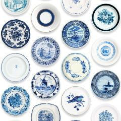 Studio Ditte Porcelain saucer wallpaper in Blue